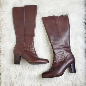 Clarks Artisan Leather Knee High Heeled Boots